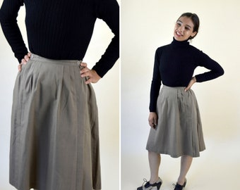 ceaf7d9e980c Vintage 70's Taupe Gray A-line Pleated Skirt - Chic High Waist Knee Length  Skirt - Boho Hippie - Professional - Size XSmall - 24