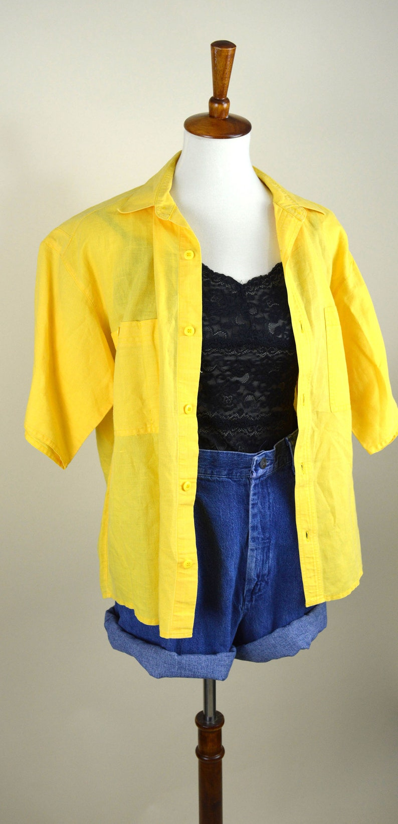 d0d70d7eafafa Vintage 90's Bright Canary Yellow Cotton Summer Shirt - Short Sleeve Button  up Blouse - Casual - Grunge - Pastel - Women's Size Large