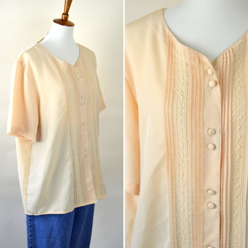 ee23767888be0 Vintage Cream Yellow Pin Tucked Lace Dress Shirt - Short Sleeve Button down  Dressy Blouse - Secretary Top - Size 18W - Xlarge to 0X