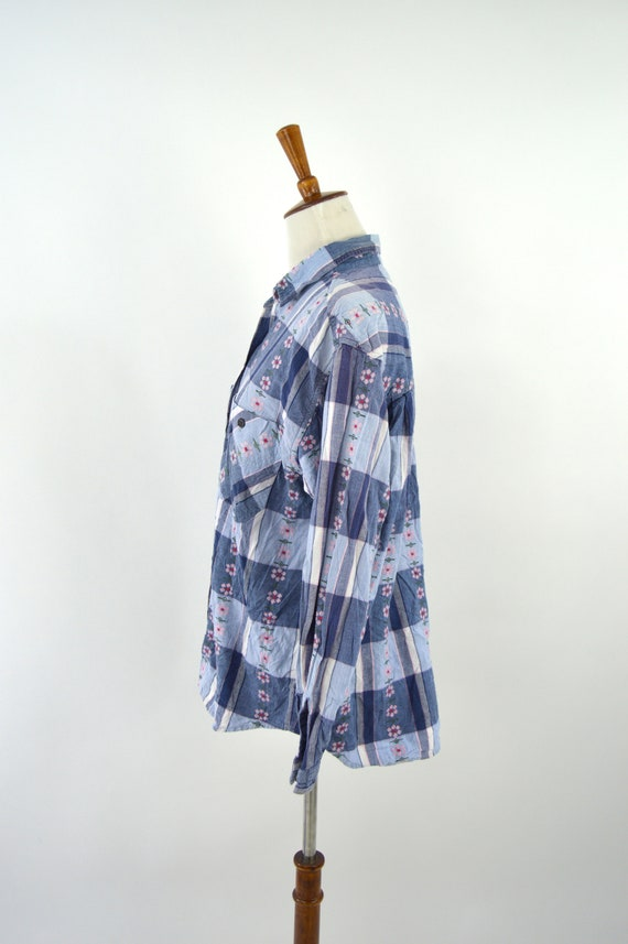 Vintage 90/'s Blue and White Cotton Summer Plaid Shirt Long Sleeve Button up Top Spring Fashion Country Girl Mori Girl Size XXLarge