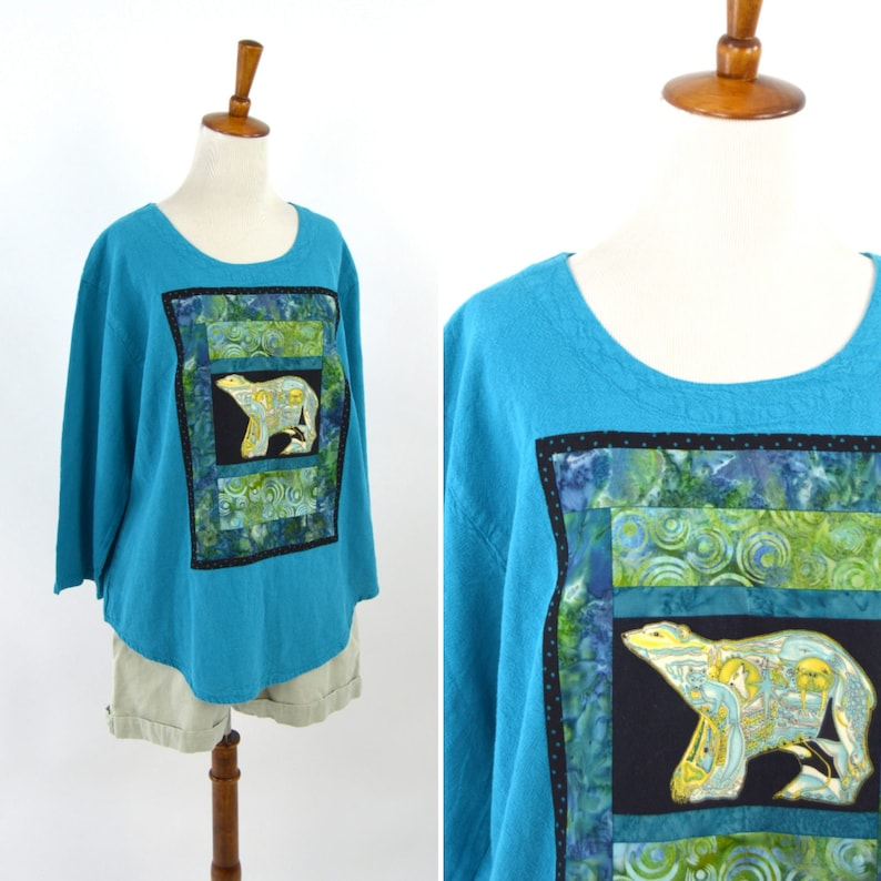 Quilted Top Size Large Vintage 1990/'s Blue Polar Bear Quilted Long Sleeve Linen Shirt New Age Mystical Comfortable Blue Pullover Blouse