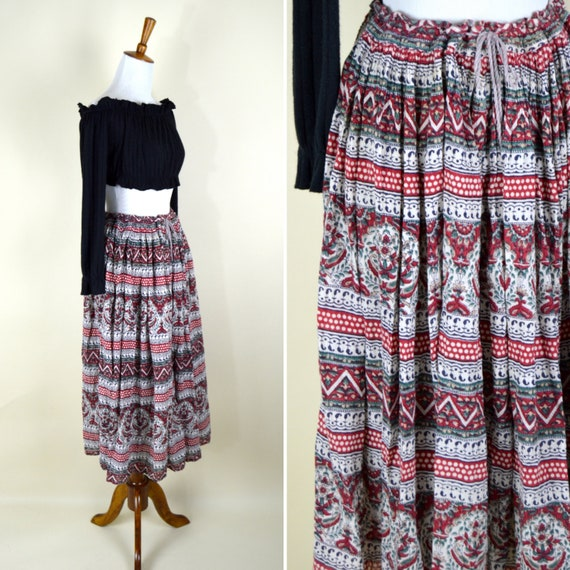 5447a6739fc Vintage 80 s Red White Black India Print Cotton Skirt