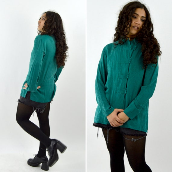 Vintage 1980's Forest Green SILK tunic blouse - Ch