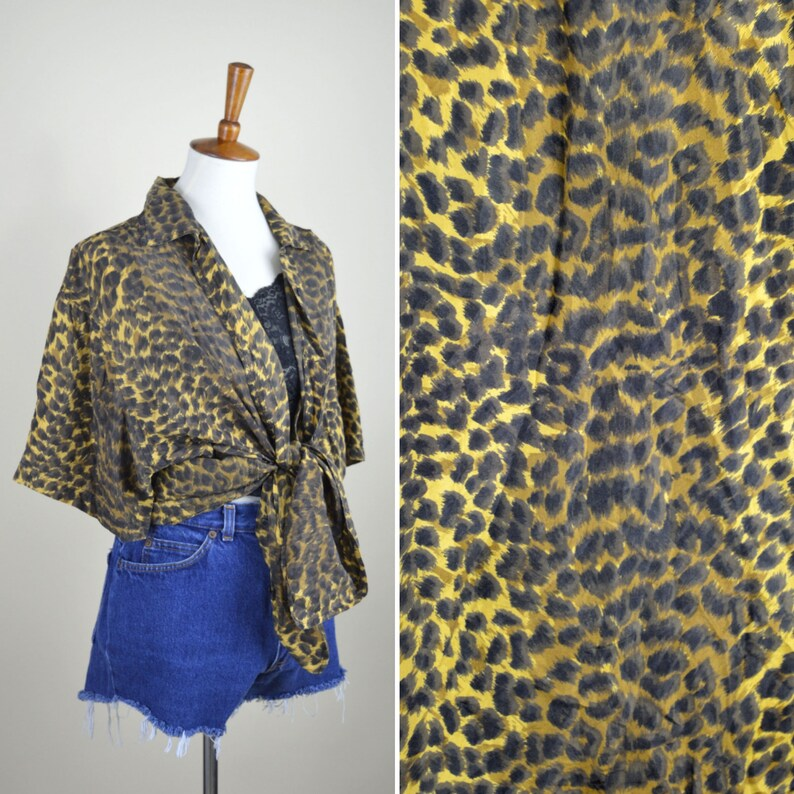 74c4bc9c7066c Vintage 1980's Silk Cheetah Shirt - Short Sleeve Button up Blouse - Animal  Print - Glam Rock - Retro - Rockabilly - Women's Size 2X
