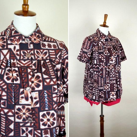 80's Vintage Brown Flower Power Shirt - Short Slee