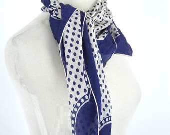 Vintage 1970's Blue and White Polka Dot Rockabilly Hair Scarf - Square Semi Sheer Chiffon Fashion Scarf - Size Medium - 30  X 30 Inch