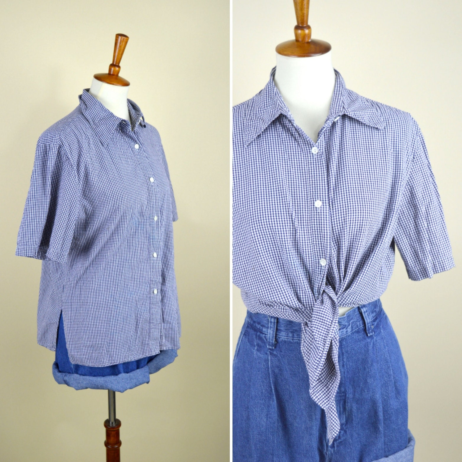 2eecb576cdf2a Vintage 90's Blue Gingham Plaid Casual Cotton Shirt - Short Sleeve Button  up Summer Top - Women's Size Large