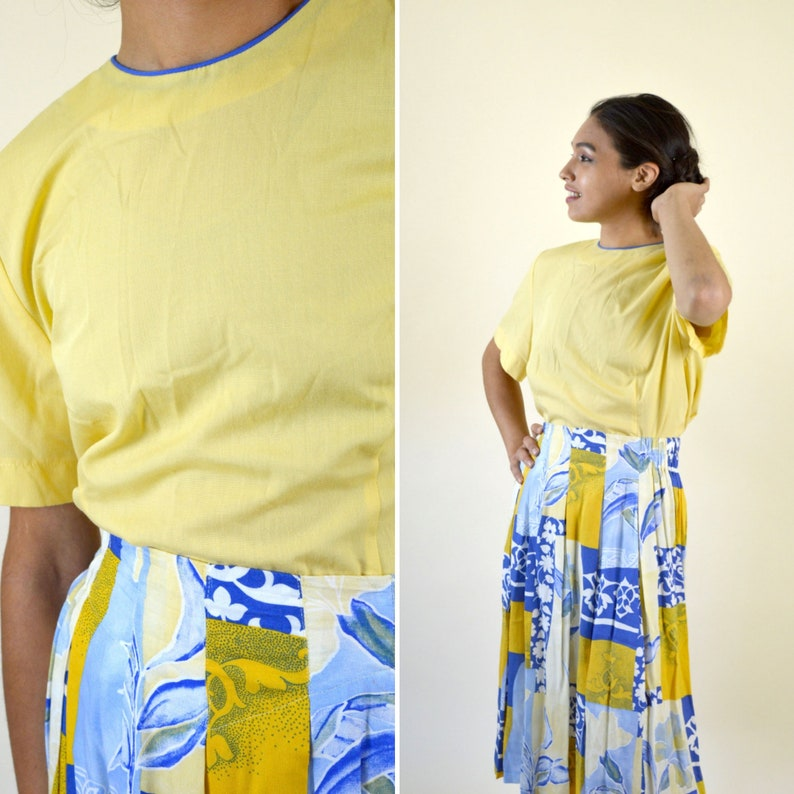 15200d391556b Vintage 80's 90's Yellow Shirt - Short Sleeve Casual Summer Top - Mod  Blouse - Pastel Grunge - Size Medium to Small