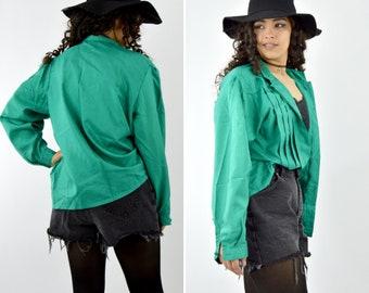 Années 1980 plissé vert Secrétaire Blouse - bouton plissée à manches longues chemise - col haut mode haut - taille grande à Xlarge