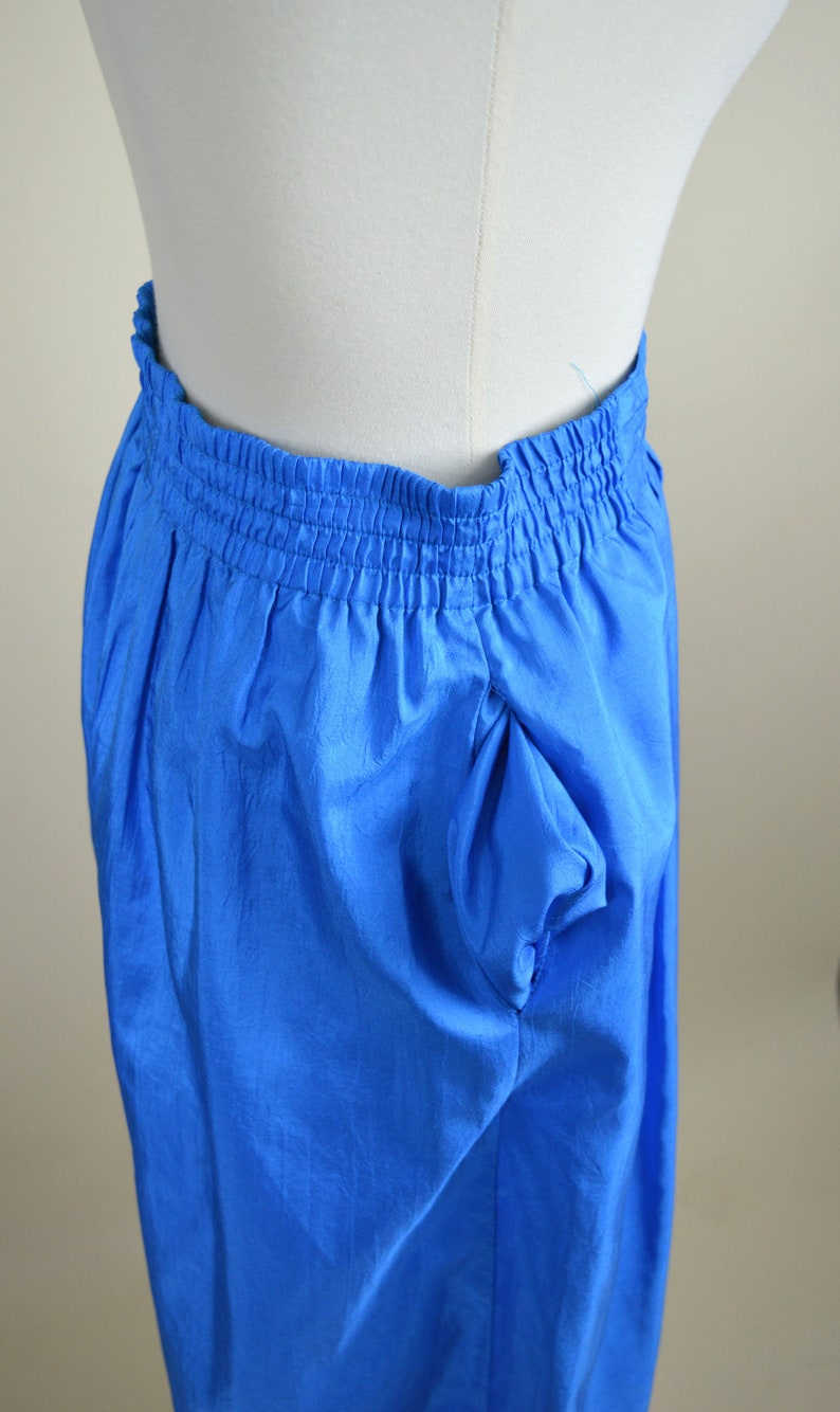 Wide Length Capri Vintage 1980/'s Electric Blue Gaucho Pants Loose Fitted High Waist Pants Summer Street Fashion -Size Small to Medium