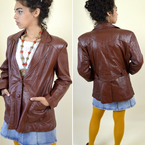 Vintage 1970's Brown Leather Blazer - 70's Boho Fo