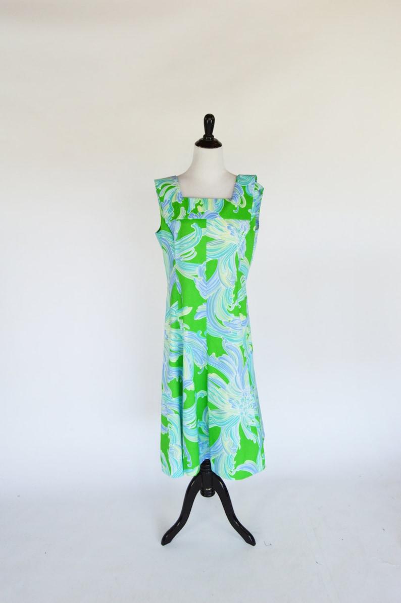 Size Large Groovy A-Line Psychedelic Hippy Woodstock  Dress Hippie Boho Summer Dress Vintage 60/'s Mod Blue Green Swirl Hawaiian Dress
