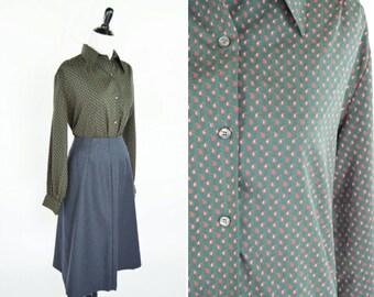 Blouse de Secrétaire vintage des années 1980 vert - bouton manches longues Top - chemisier imprimé Paisley rouge - dames taille grand