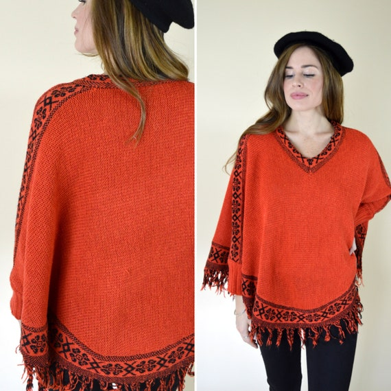 d7f610810 Vintage 1970's Orange and Black Poncho - Crochet Tassel Sweater Poncho -  Knitted Hippie Boho Poncho With Arm Holes - One Size Fits Most