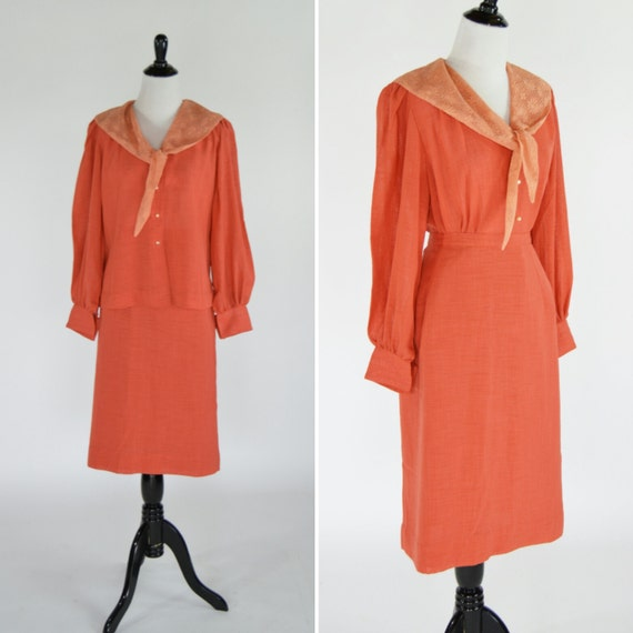 Vintage 1950's Orange Blouse Skirt Set - Orange La