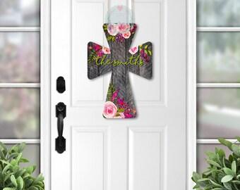 Personalized Door Hanger Cross Wreath Year Round Door Hanger Cross Door Decor Cross Door Hanger Spring Door Hanger
