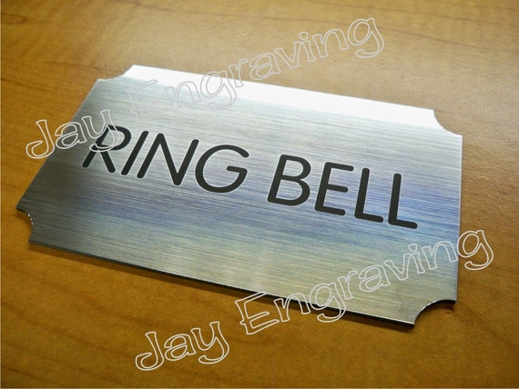 Engraved 2x2 Blue RING BELL Plastic Tag Sign PlateDoorbell Plate Door Plaque