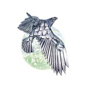 Lg. Large. Handcrafted Leather Raven Large Slide Barrette Bun Holder Metallic Silver Crow Stick Barrette Silver Raven Leather Hair Pin,