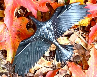 Large Leather Raven Stick Barrette, Handmade Raven Hair Clip Bun Holder, Black Crow Hair Slide Decor MADE TO ORDER