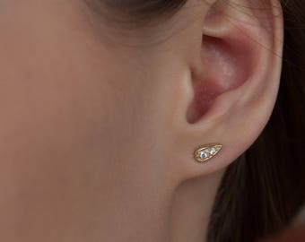 Tiny gold Teardrop studs, tiny sterling silver tear drop stud earrings