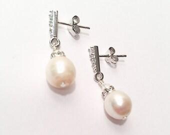 The Avery Pearl Drop Earrings, Simple PearlDrop Earrings, Small Pearl Earrings, Bridal Earrings, Real Pearl Earrings