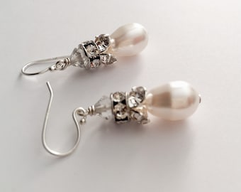 Success Pearl Drop Bridal Earrings, sterling silver and rhinestone Pearl Earrings, Drop Earrings, Bridesmaids Earrings