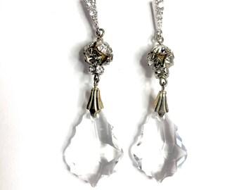 The Kierstyn Crystal Drop Bridal Earrings, Swarovski Earrings, long dandly Bridal Earrings, Statement Earrings, Wedding Earrings,
