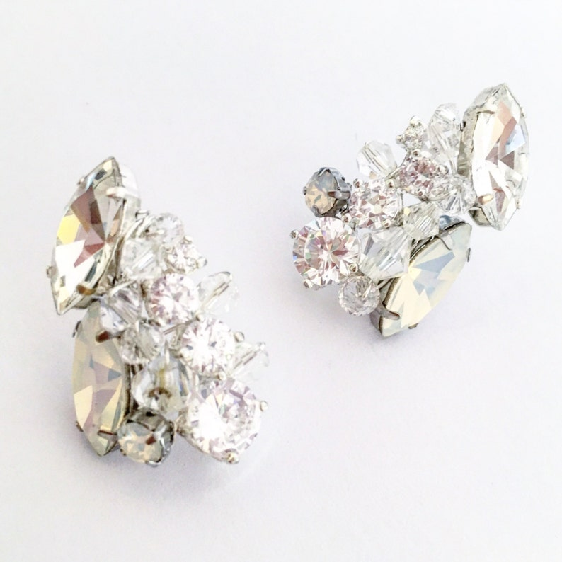 6039d70e2 Ice Earrings Swarovski rhinestone studs opal stud earrings | Etsy