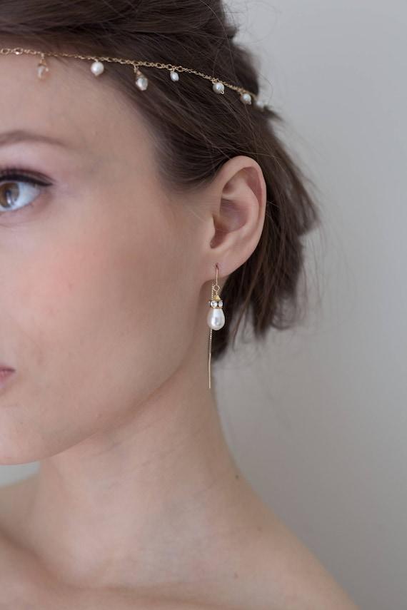 Pearl earrings June Birthstone, Pearl Bar Threader Earrings Long Pearl Drop Earrings Pearl threaders Pearl Dangle Earrings