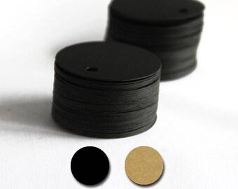 Set of 100, Gift Tags, 48MM, Black Circle Tags