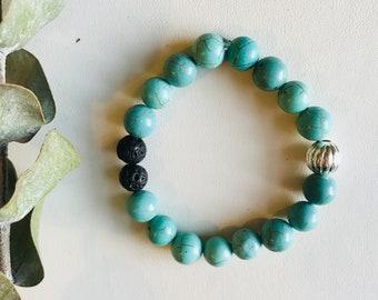 Essential Oil Diffuser Bracelet, Magnesite, Mala Bracelet, Yoga Bracelet, Gemstone Bracelet, Meditation Bracelet, Spiritual Gift