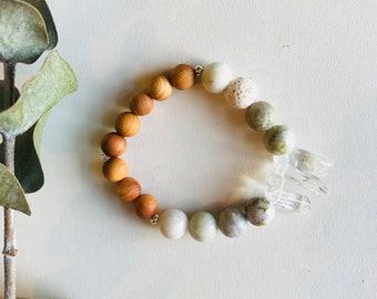 Essential Oil Diffuser Bracelet, Crystal Quartz, Jade, Rosewood, Mala Bracelet, Yoga Bracelet, Gemstone Bracelet, Meditation Bracelet,