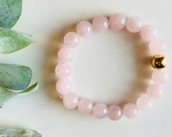 Rose Quartz, Mala Bracelet, Yoga Bracelet, Gemstone Bracelet, Meditation Bracelet, Crystal Healing Jewelry, Spiritual Gift