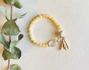 Essential Oil Diffuser Bracelet, Calcite, Opal, Crystal Quartz, Mala Bracelet, Yoga Bracelet, Gemstone Bracelet, Meditation Bracelet