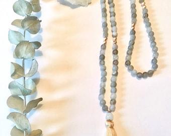 Matte Grey Agate Mala, Necklace, Rose Gold, Tassel, 108, Yoga Jewelry, Meditation