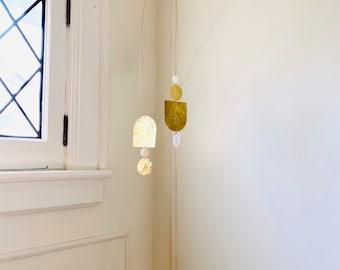 Brass Crystal Quartz and Mother of Pearl Mobile Lightcatcher, Crystal Quartz, Boho, Bohemian, Wall Hanging, Brass, Mobile, Nursery