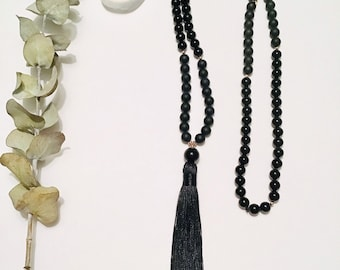 Black Onyx Mala, Mala, Necklace, Black Onyx, Tassel, Black, Gemstone, Meditation, Matte