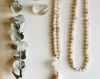 Jade & Crystal Quartz Mala, White, Mala, Jade, Necklace, Crystal Quartz, 108, Tassel, Yoga, Meditation
