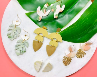 Tropical Polymer Clay Earrings, Monstera, Cactus, Brass, Statement, Earrings, Minimalist, Chartreuse, Green, Gold, Boho, Marble