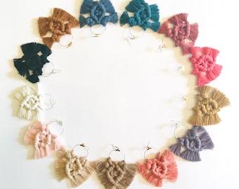 Macrame Chandelier Earrings, Boho Jewelry, Bohemian, Macrame, Earrings, Fringe, Hoop