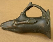 Antique Bronze Deer Head Stirrup Cup Goblet