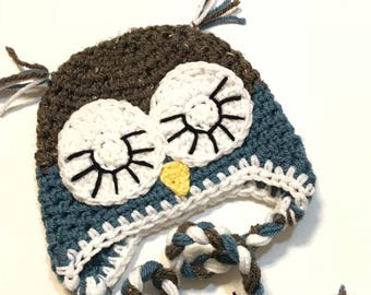 Crochet Hat | Sleepy Owl 0-3m - Ready to mail