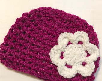 Crocheted Beanie with Flower | Jessica Hat | Donation Item - Ready to mail in size 0-3M