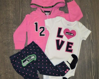 9M girl's Seattle Football outfit - 4 piece - Ready to mail!