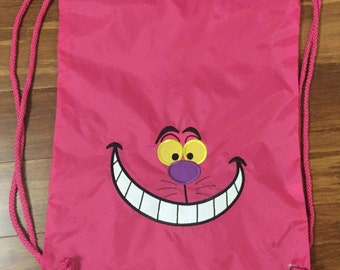 aec1b5abd5 Cheshire Cat Draw String Backpack for Adults   Kids - Hot Pink with  Personalization - Many Colors - Disney Alice in Wonderland
