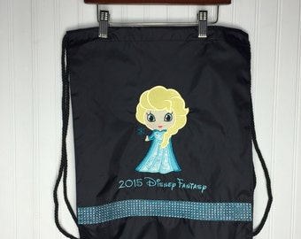 b2c8e188e9 Queen Elsa Draw String Backpack for Adults   Kids - Black with Rhinestones  and Personalization - Many Colors - Disney Frozen
