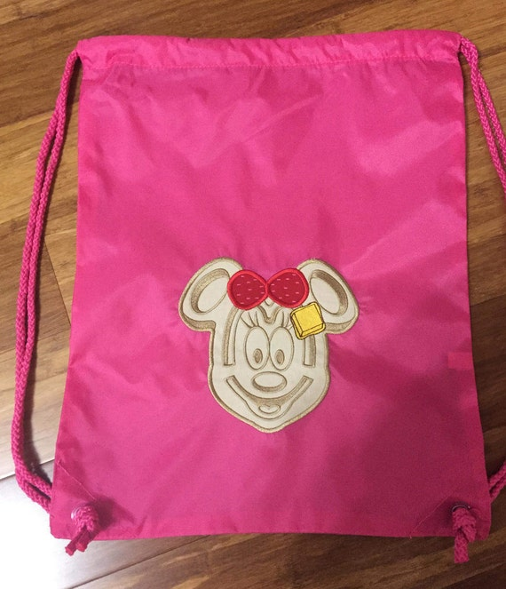 8d98e96dd3 Minnie Mouse Waffle Draw String Backpack for Adults   Kids