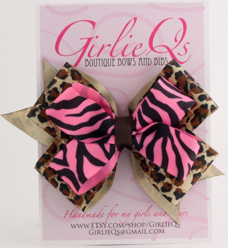 d373cdd73f3 Pink Zebra Tiger   Leopard Print Hair Bow Hair Clip 5 x