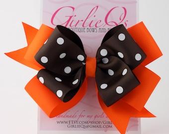 """Orange and Brown Hair Bow Hair Clip Autumn Fall Thanksgiving 6"""" x 5"""""""