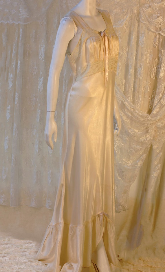 Vintage Nightgown, Silk and Lace Nightgown, Neglig